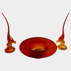 Viking Art Glass Birds and Footed Fruit Bowl or Flower Vase Orange to Red Glass Swedish Modern Table Decorations