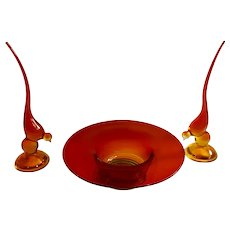 Viking Glass Amberina Bird and Footed Fruit Bowl or Flower Vase Orange to Red Art Glass Birds Swedish Modern Table Decorations