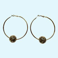 Large Gold-Tone Loops with Sliding Golden Filigree Beads Stud Posts for Pierced Ears
