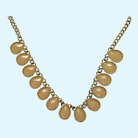 "Peach Colored Faceted Teardrops on a Gold-Tone Chain Necklace 21-3/4"" Long"