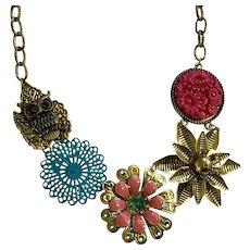 Owl & Flowers Gold-tone Bird Necklace