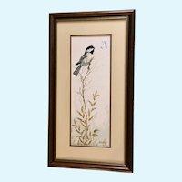 Carroll Danbom, Chickadee Bird and Butterfly Pastel Drawing Signed by Iowa Artist