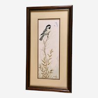 Carroll Danbom, Chickadee Bird and Butterfly Pastel Drawing