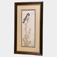 Carroll Danbom, Little Black Capped Chickadee Bird and Butterfly Pastel Drawing Signed by Iowa Artist