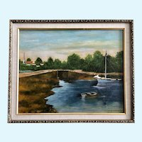 JC Musgrave, Sailboat Moored at Town Bridge Landscape Oil Painting