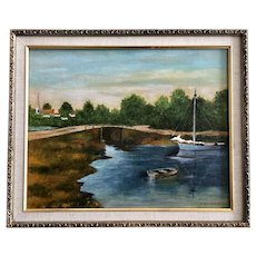 JC Musgrave, Sailboat Moored at Town Bridge Landscape Oil Painting Signed by Artist