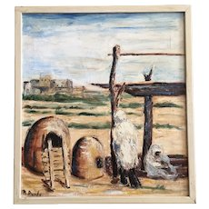 N Purdy, Native American Pueblo Indian Outdoor Kitchen Adobe Horno Ovens Oil Painting Signed by Artist