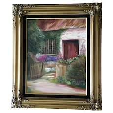 D Ghyselinck, Flowering Yard of Thatched Roof Home Oil Painting Signed by Artist
