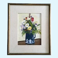 Spring Bouquet in German Pitcher Still Life Oil Painting Signed Smith