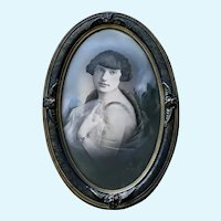 Hand Colored Monotone Daguerreotype Woman Portrait from the Mid-19th Century Convex Glass Frame