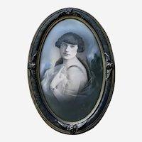 Woman Portrait Hand Colored Monotone Daguerreotype Mid-19th Century