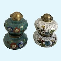 Vintage Cloisonne Salt Cellar and Pepper Shaker Brass and Enamel China