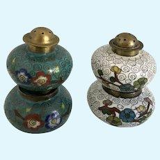 Vintage Cloisonne Salt Cellar and Pepper Shaker Brass and Enamel China