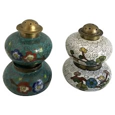 Vintage Cloisonne Salt Cellar and Pepper Shaker Brass and Enamel Floral Patterns China