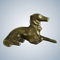 Borzoi Russian Wolfhound Dog Brass Desk Paperweight Chain Pencil Weight Japan Figurine