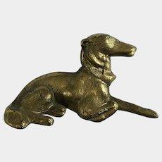 Borzoi Russian Wolfhound Dog Brass Desk Paperweight Chain Pencil Weight Japan Figurine