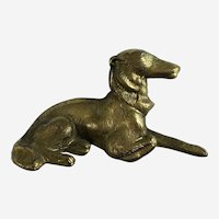 Borzoi Russian Wolfhound Dog Brass Paperweight Chain Pencil Weight Japan Figurine
