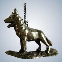 German Shepherd Dog Nickel Metal Desk Paperweight Chain Pencil Weight Japan Figurine