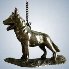 German Shepherd Dog Nickel Metal Desk Paperweight Chain Pencil Weight Japan Figurine