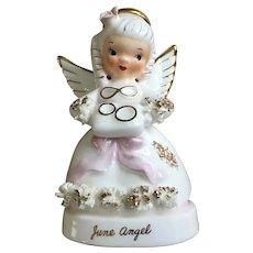 Vintage Napco June Angel Girl Figurine Spaghetti Trim Wedding Ring Pillow Brides Maid A1366