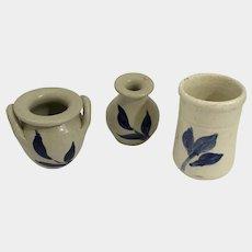 Vintage Williamsburg Miniature Pottery Vase, Pot and Urn Blue & White Salt Glazed