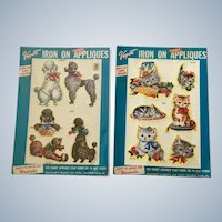 Mid-Century Vogart Iron On Appliqués Kittens Cats 327 and Poodle Dogs 326