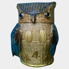 Adorable Vintage Owl Wicker Basket with Glass Eyes Covered Lidded Trinket Box