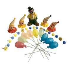 Vintage Circus Clowns, Balloons and Cupcake Birthday Candle Holders Birthday Cake Topper Decorations 34 Pcs