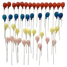 Mid-Century Balloon Cupcake Birthday Cake Topper Decorations Red, Blue, Yellow and Pink Picks