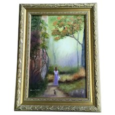 Dawn Geisel, Beyond The Mist, Woman with Scotty Dog Walking Down Path Oil Painting Signed by Australian Artist