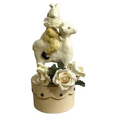 Adorable Bunny Rabbit Riding a Lamb Trinket Easter Box