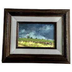 Fran McKinney, Rural Fence Line Pastoral Landscape Oil Painting Signed By California Artist