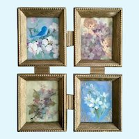 Mid-Century Adorable Blue Bird, Flowers and Baby Angel Girls Framed Greeting Cards Wall Art