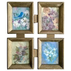 Mid-Century Blue Bird, Flowers, Angels Framed Greeting Cards Wall Art