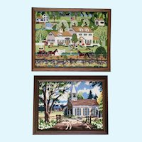Marlene Blalkkolb Framed Needlepoint Folk Art Country Scenes Needlework 1980's