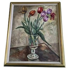 Gertrude Savageau Freeman (1868 - 1954) Blooming Tulips Still Life Oil Painting by Listed Artist