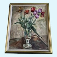 Gertrude Savageau Freeman (1868 - 1954) Tulips Still Life Oil Painting