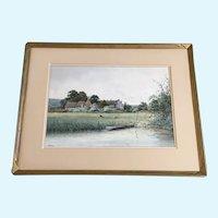 Albert Edward Bowers (1875 - 1893) River Sheep Pasture Scene Watercolor Painting