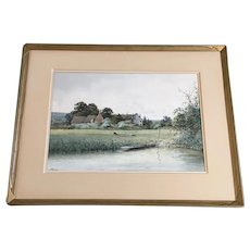 Albert Edward Bowers (1875 - 1893) River Skiff and Sheep in Pasture Scene by Rural European Town Original Watercolor Painting Signed by British Artist