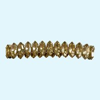 Faux Crystal Rhinestone and Gold-Tone Bracelet