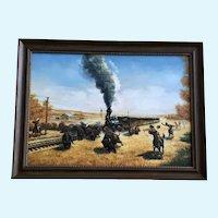 Steam Locomotive Train on the Prairie Indian Buffalo Hunt Oil Painting