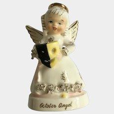 Vintage Napco October Angel Girl Figurine Spaghetti Trim Halloween Mask A1370
