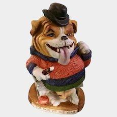 Dirty Dogs Top Dog of the Year English Bulldog Porcelain Figurine World Wide Arts Inc. 1973 Japan