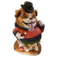 English Bulldog Porcelain Figurine Dirty Dogs Top Dog of the Year World Wide Arts Inc. 1973 Japan