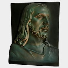 Jesus Bust Chalkware Religious Wall Plaque Black and Green Opal Color Johnals Enterprises Inc.