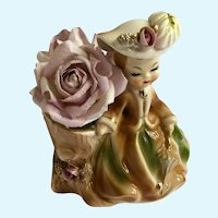 Vintage Marilyn Exclusive Consco Girl Purple Roses Planter Vase Figurine #7C28