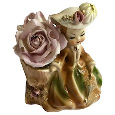 Vintage Marilyn Exclusive Consco Girl Purple Roses Planter Vase Figurine #7C28