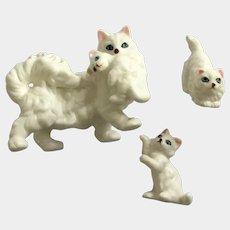 White Persian Kitty Cat and Playful Kittens Blue Eyed Bone China Miniature Animal Figurines Japan