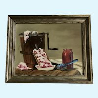 Home Made Strawberry Ice Cream with Antique Ice Cream Maker Still Life Oil Painting