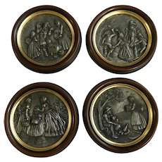 Pewter Figural Four Seasons Winter, Spring, Summer and Fall Relief Scenes Framed Wall Plaques